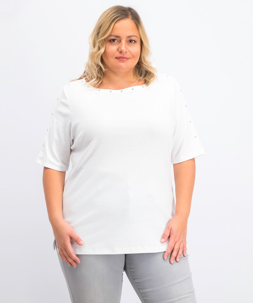 Women's Plus Size Studded Top, Bright White