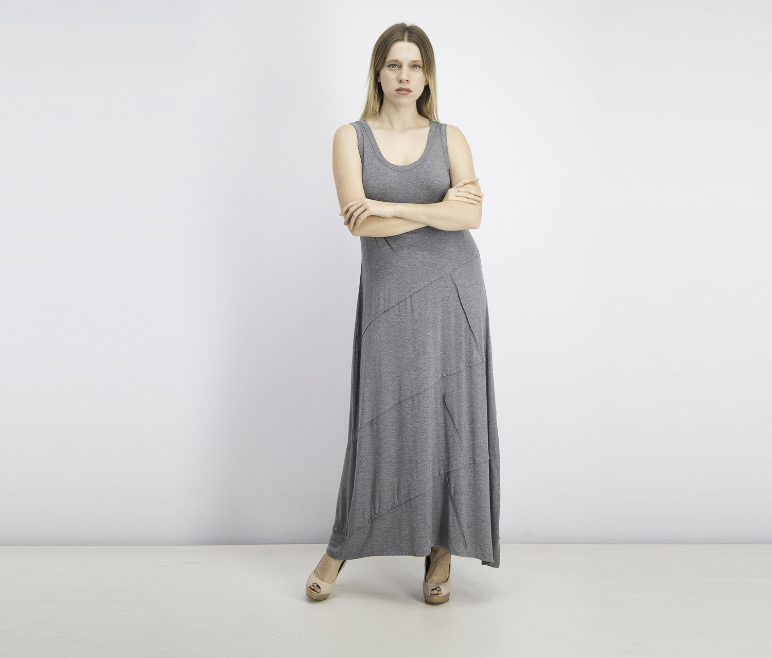 Women's Sleeveless Maxi Dress, Heather Grey