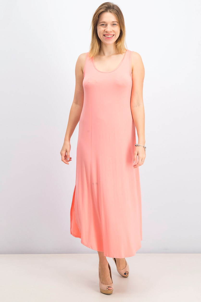 Women's Petite Sleeveless Scoop-Neck Maxi Dress, Peach Berry