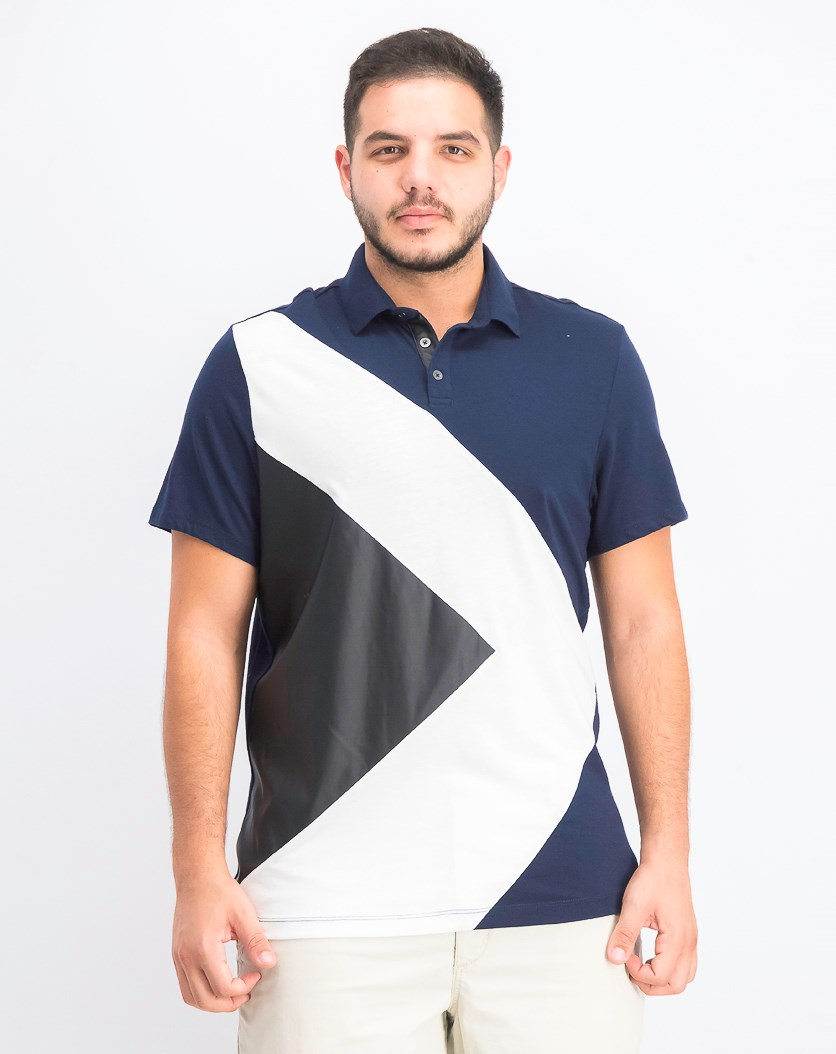Men's Colorblocked Mixed Media Polo, Basic Navy
