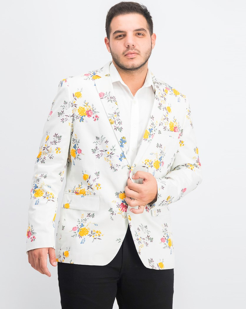 Men's Slim-Fit Floral Blazer, Off White Combo