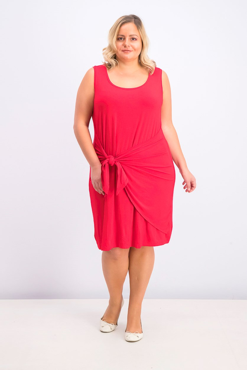 Women's Plus Size Tie-Front Swing Dress, Real Red