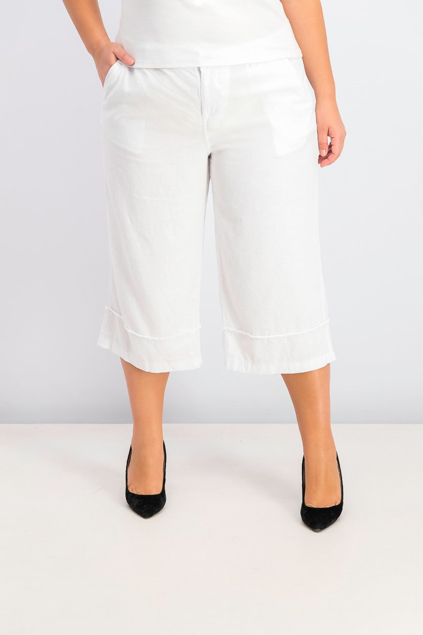Frayed Wide-Leg Capri Pants, Bright White