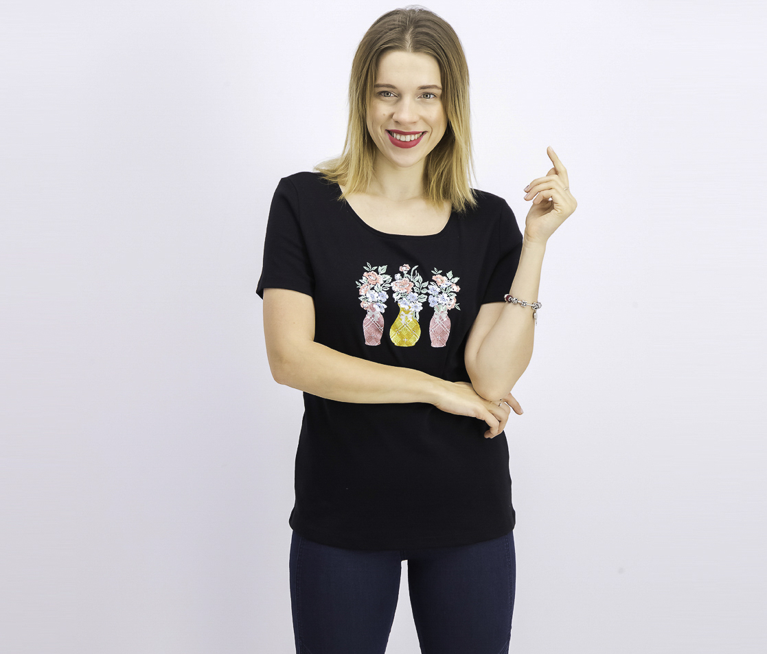 Women's Embroidered T-Shirt, Black