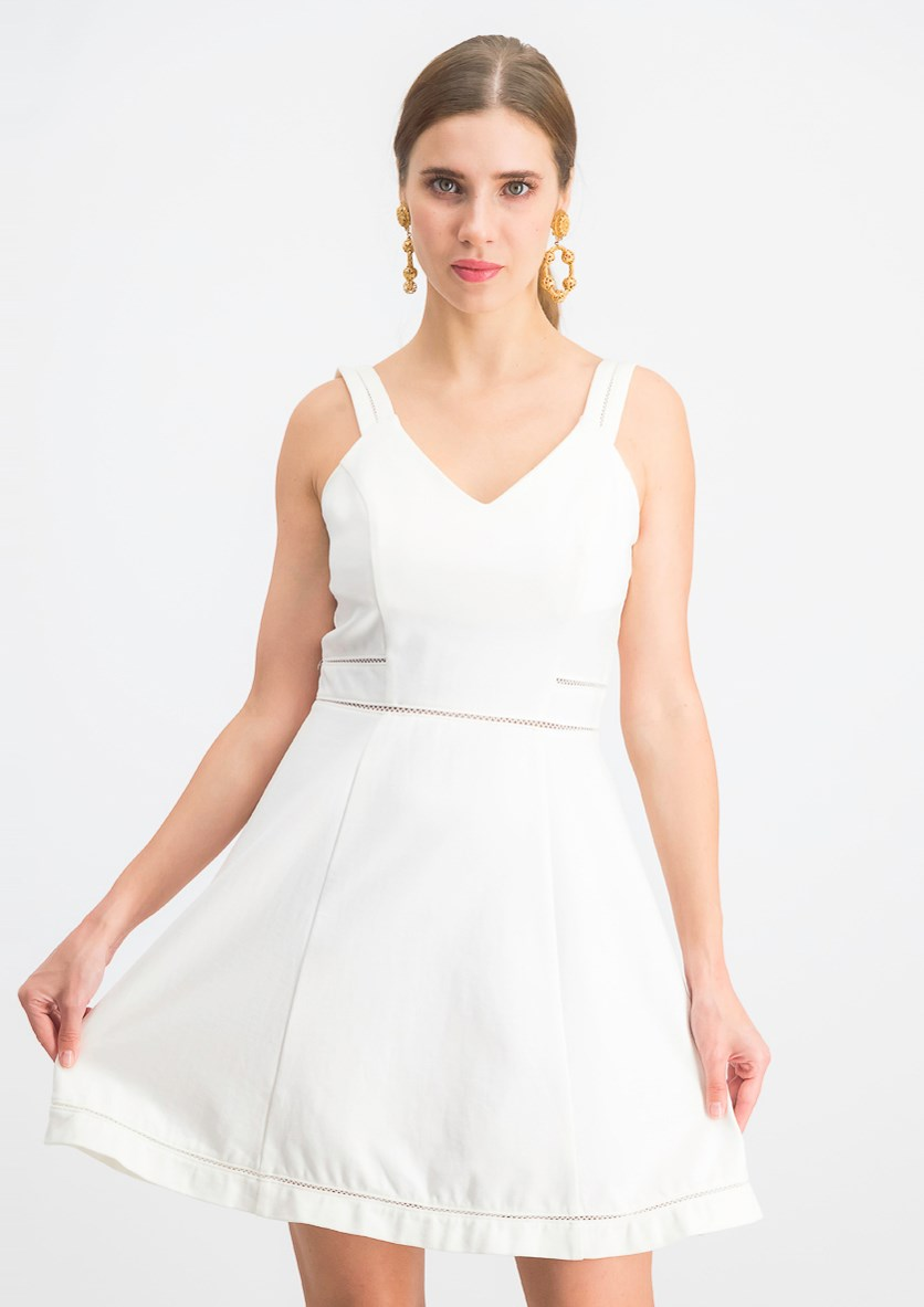 Women's  Crochet-Trim Fit & Flare Dress, Washed White