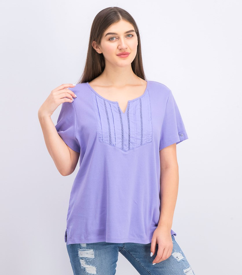 Womens Split-Neck Top, Purple Bliss