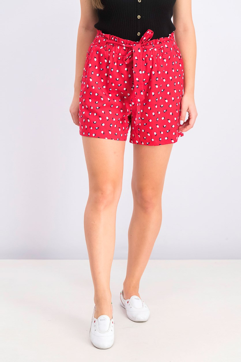 Women's Printed Paper Bag Waist Shorts, Red Combo