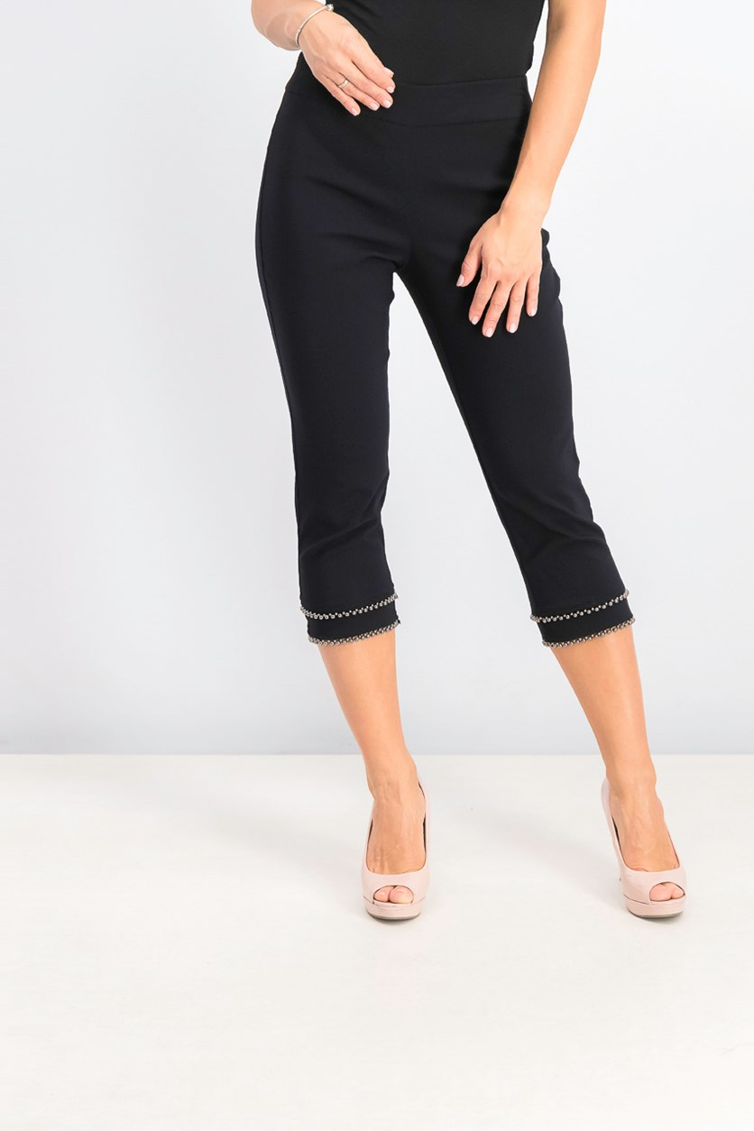 Women's Petite Embellished Tummy-Control Capri Pants, Deep Black