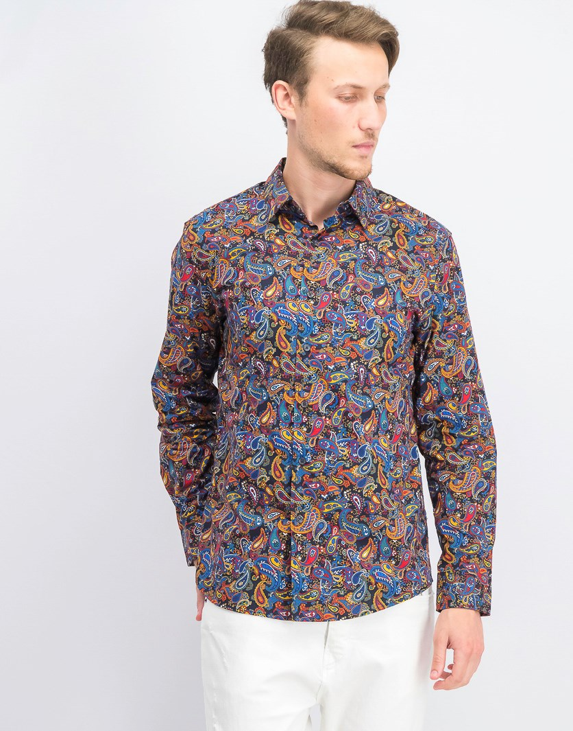 Men's Stretch Multi-Paisley Shirt, Flame Combo