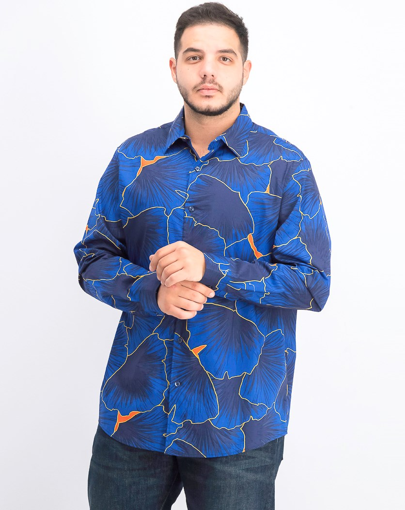 Men's Stretch Leaf-Print Shirt, Blue Combo