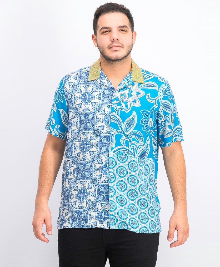 Men's Paisley Medallion-Print Camp Collar Silk Shirt, Turquoise Combo