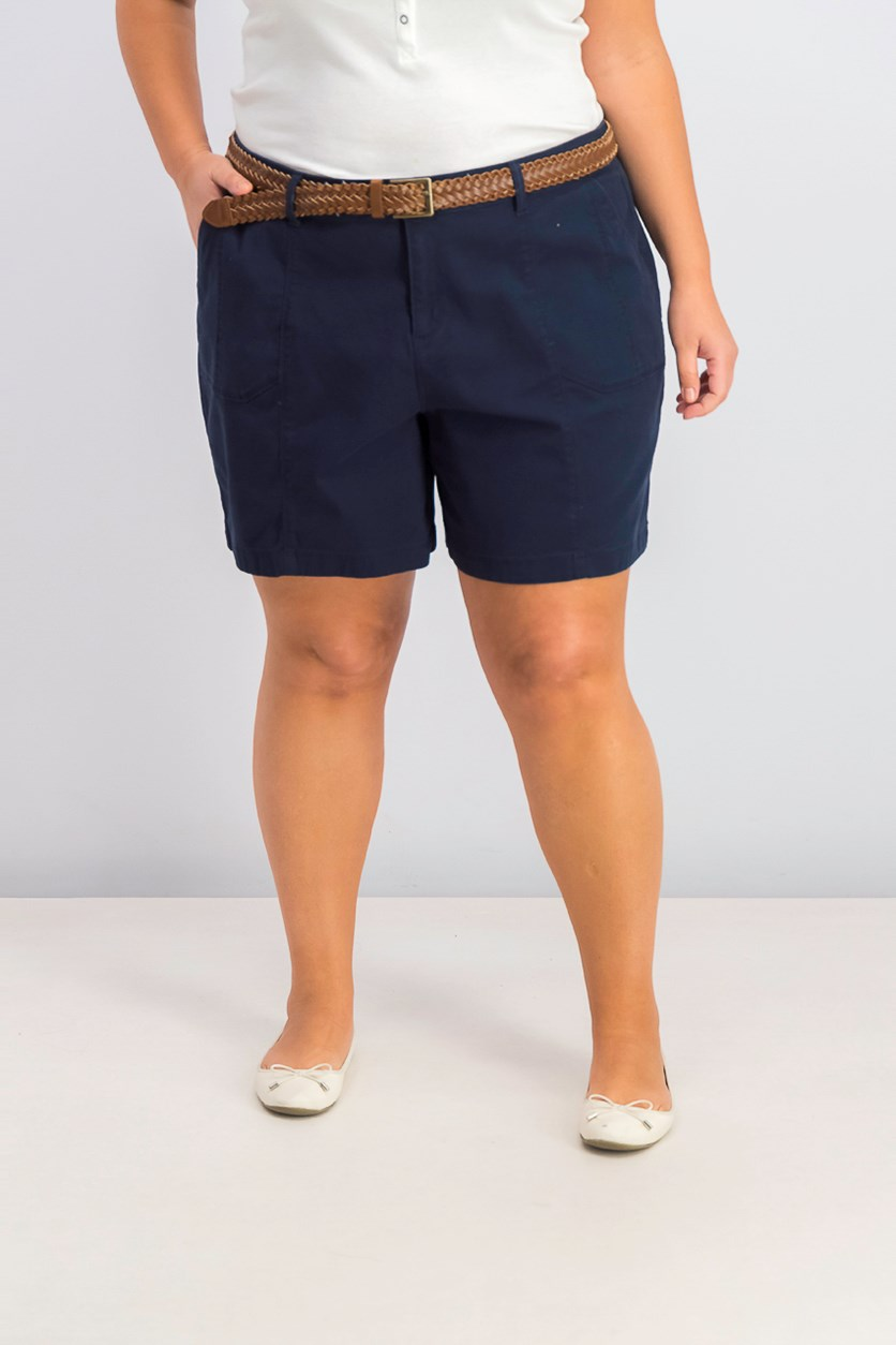 Womens Plus Size Belted Shorts, Industrial Blue