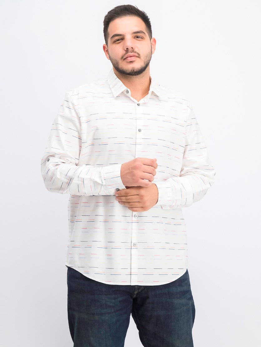 Men's Skip Stripe Shirt, White