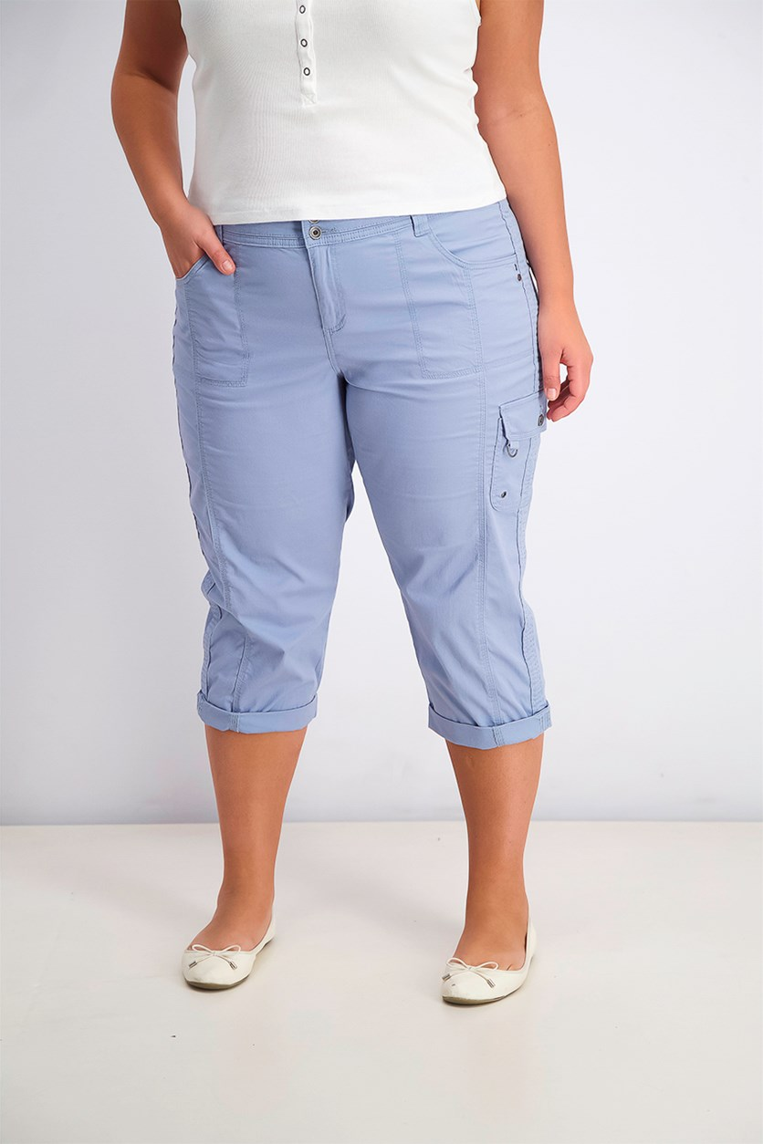 Women's Cropped Cargo Pants, Blue Fog