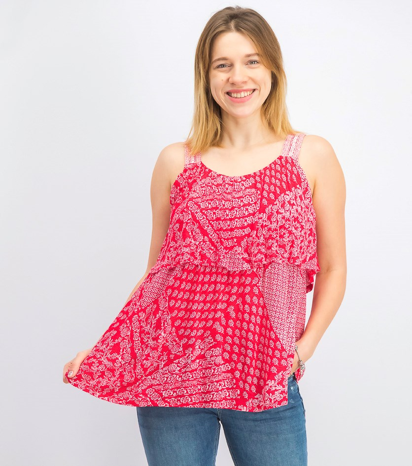 Women's Printed Flounce Tank Top, Austin Red