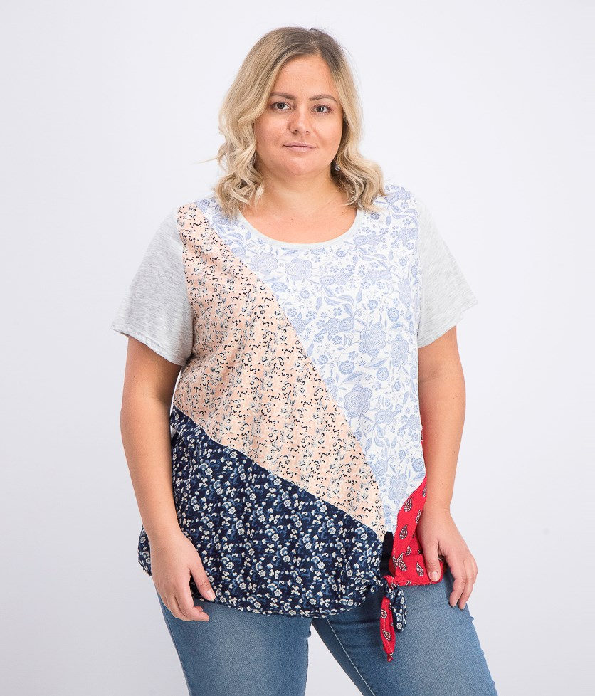 Women's  Plus Size Patchwork Tie-Hem Top, Scarf Sensation