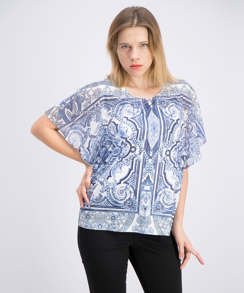 Women's Printed Studded Top, Swirl Majestic
