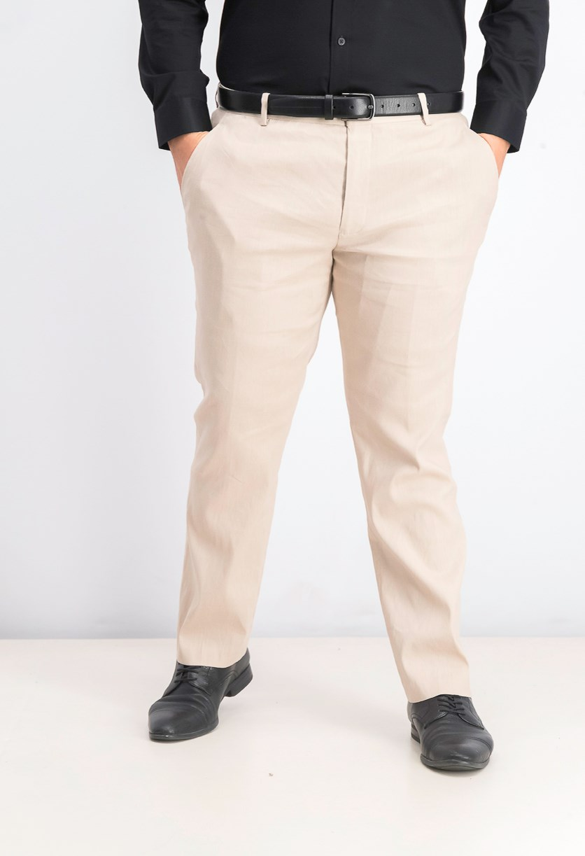 Men's Linen Stretch Slim-Fit Pants, Walnut Beige