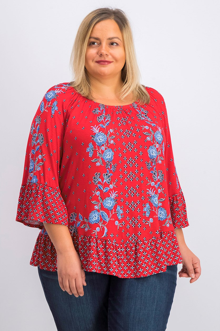Women's Floral Printed Off-The-Shoulder Top, Garden Patch