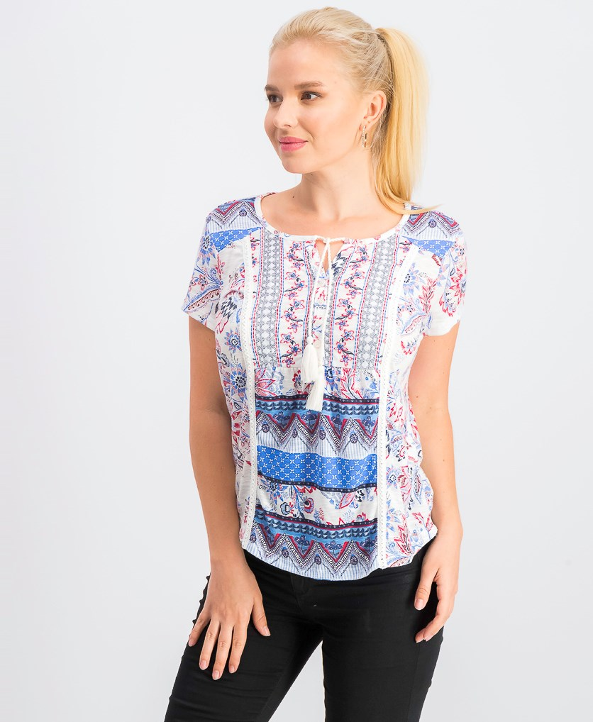 Women's Petite Printed Tassel Top, Summer Time