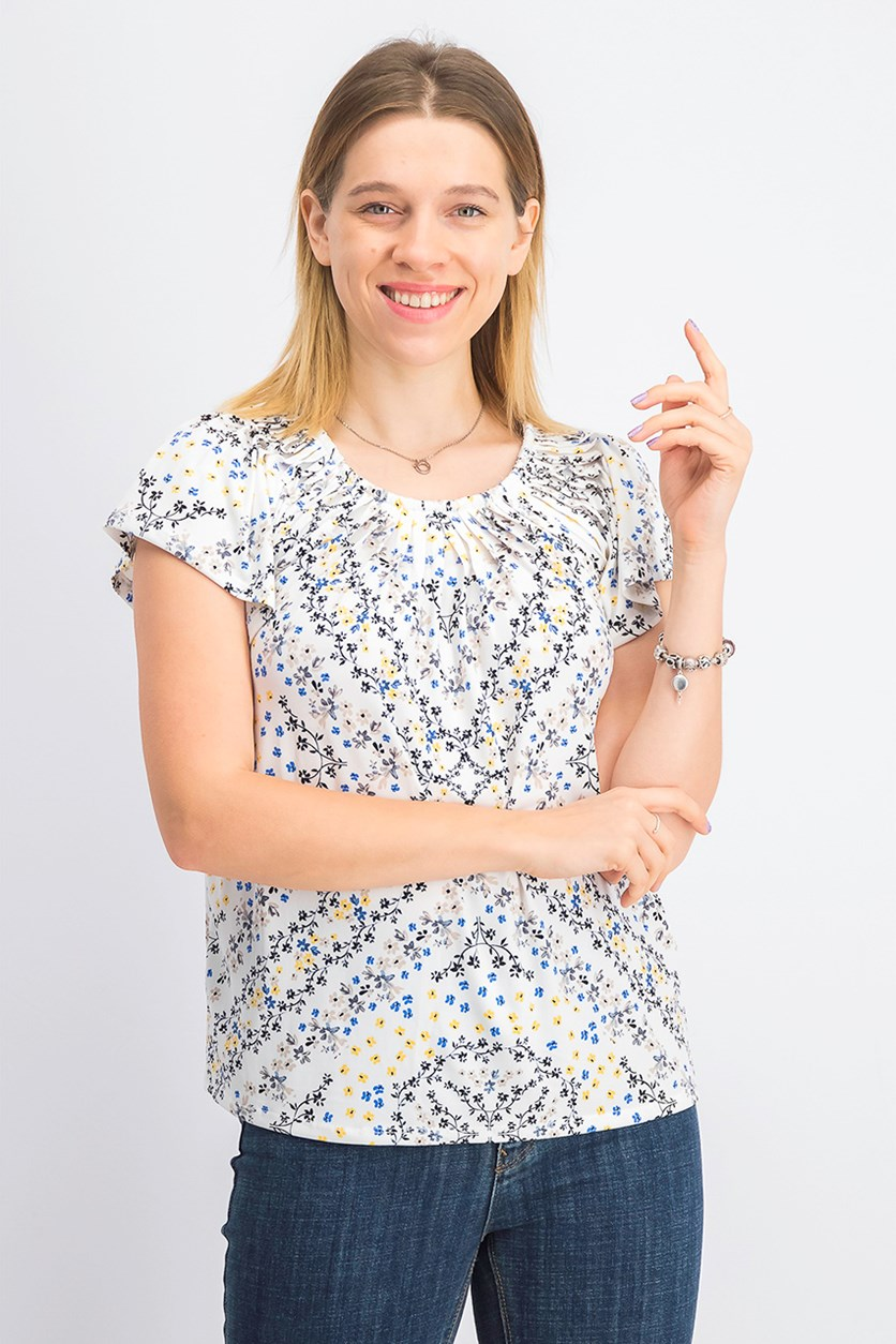 Women's Floral-Print Pleat-Neck Top, Sketchy White