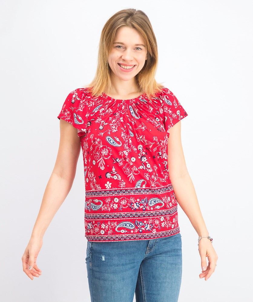 Petite Floral-Print Pleat-Neck Top, Red