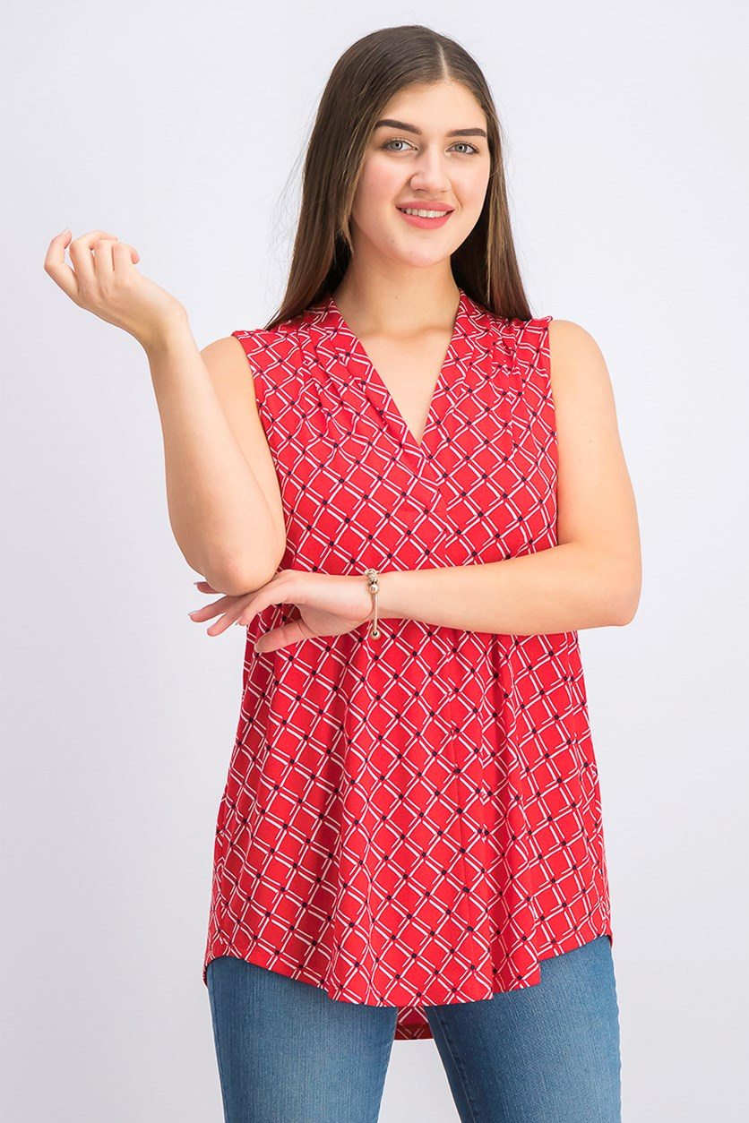 Women's Printed V-Neck Top, Risky Red