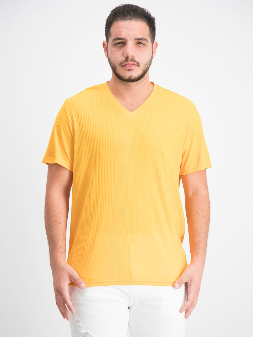 Men's V-Neck Textured Stripe T-Shirt, Sparkling Sun