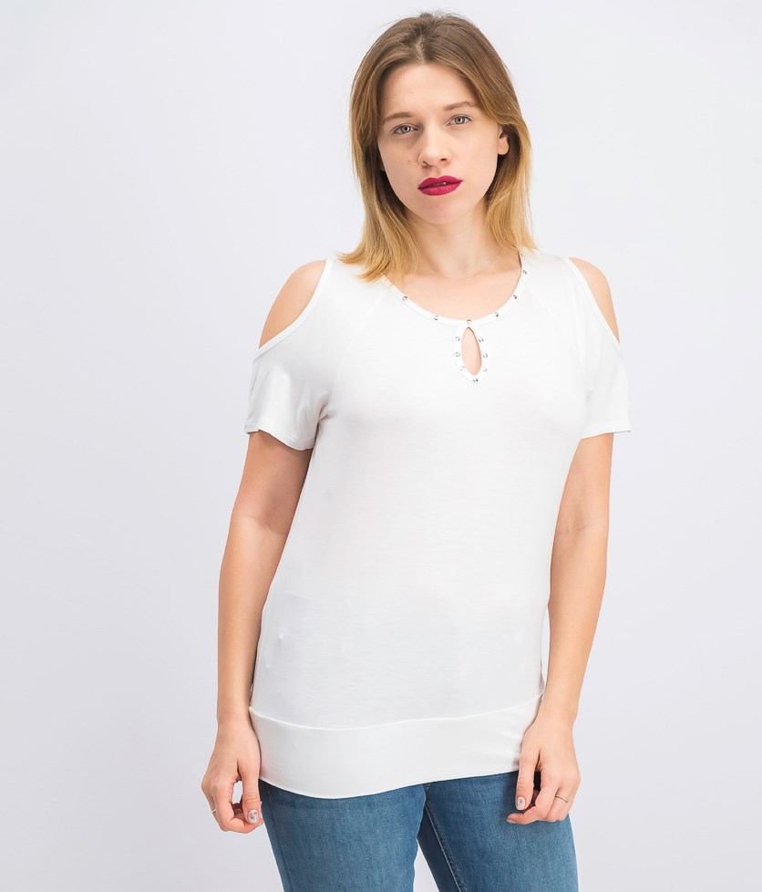 Petite Studded Cold-Shoulder Keyhole Top, Bright White