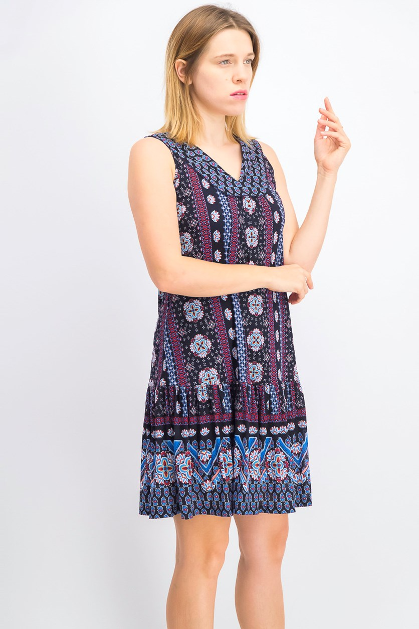 Women's Petite Geo-Print Flounce Dress, Geo Medley Ink