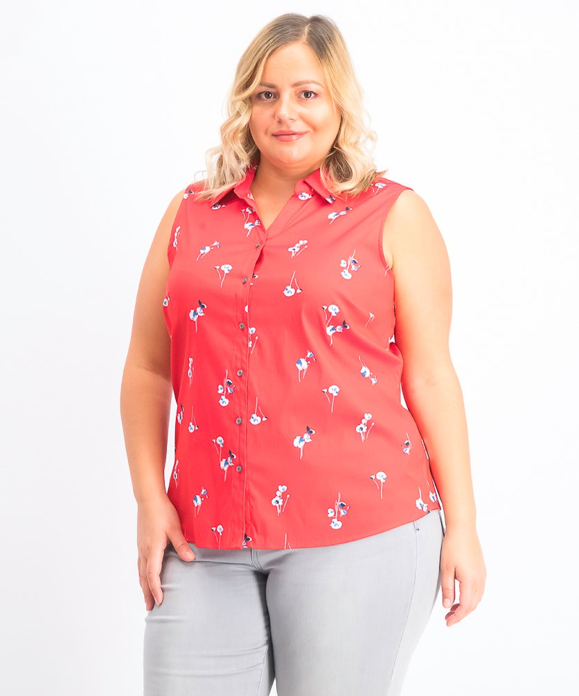 Women's Sleeveless Floral-Print Blouse, Risky Red Combo