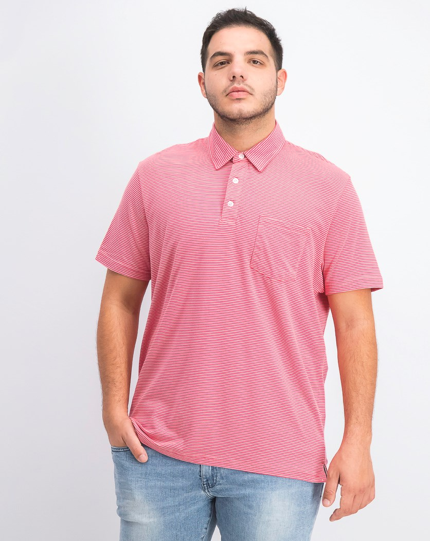 Men's Stretch Stripe Pocket Polo, Summer Melon