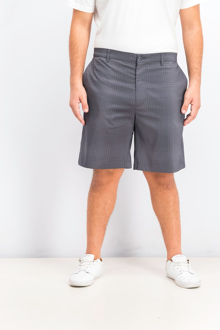 Men's Tonal Plaid 9.75 Shorts, Dark Grey