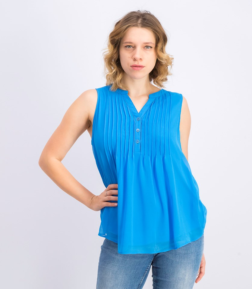 Women's Sleeveless Pintuck Top, Turquoise Sea