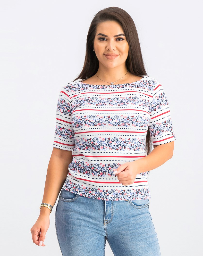 Women's Petite Mixed-Print Elbow-Sleeve Top, Bright White Combo