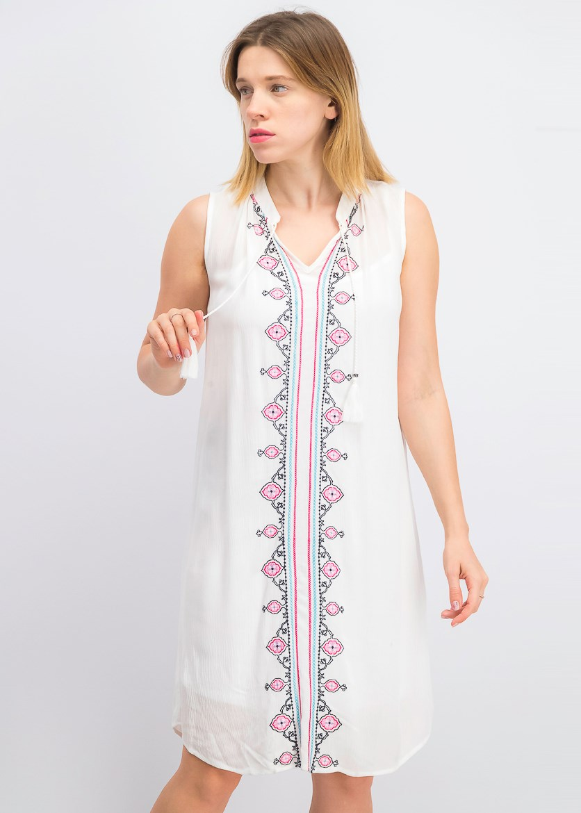 Women's Petite Embroidered Dress, White