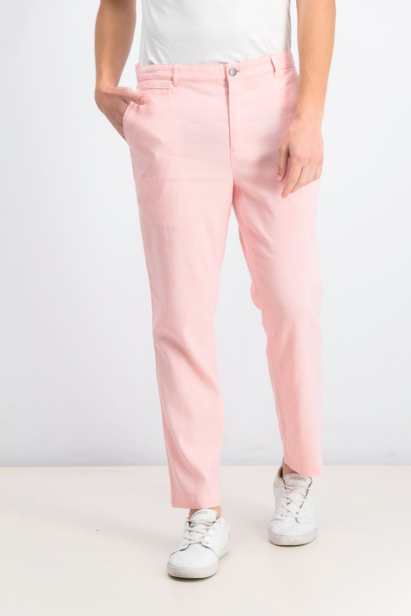 Men's Slim-Fit Stretch Linen Pants, Coral Combo