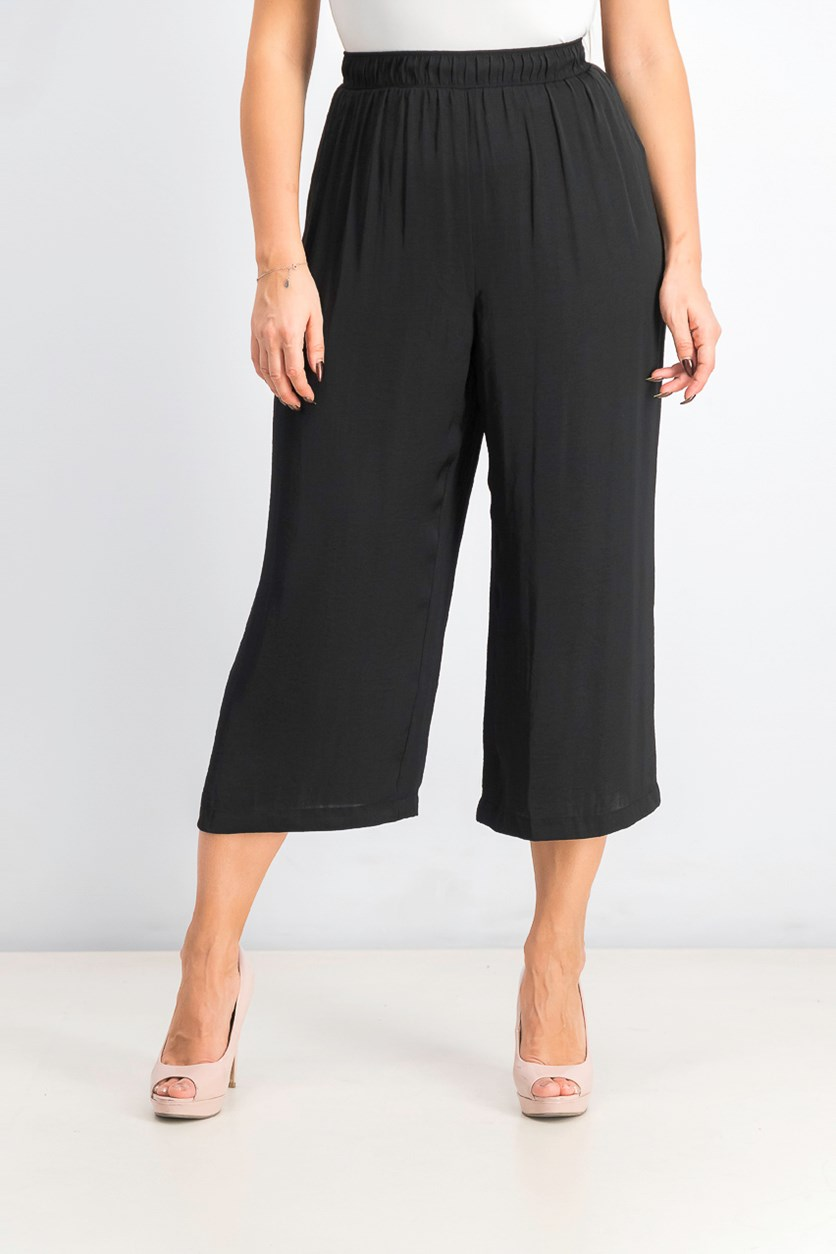 Women's Pull-on Washed Satin Culotte, Black