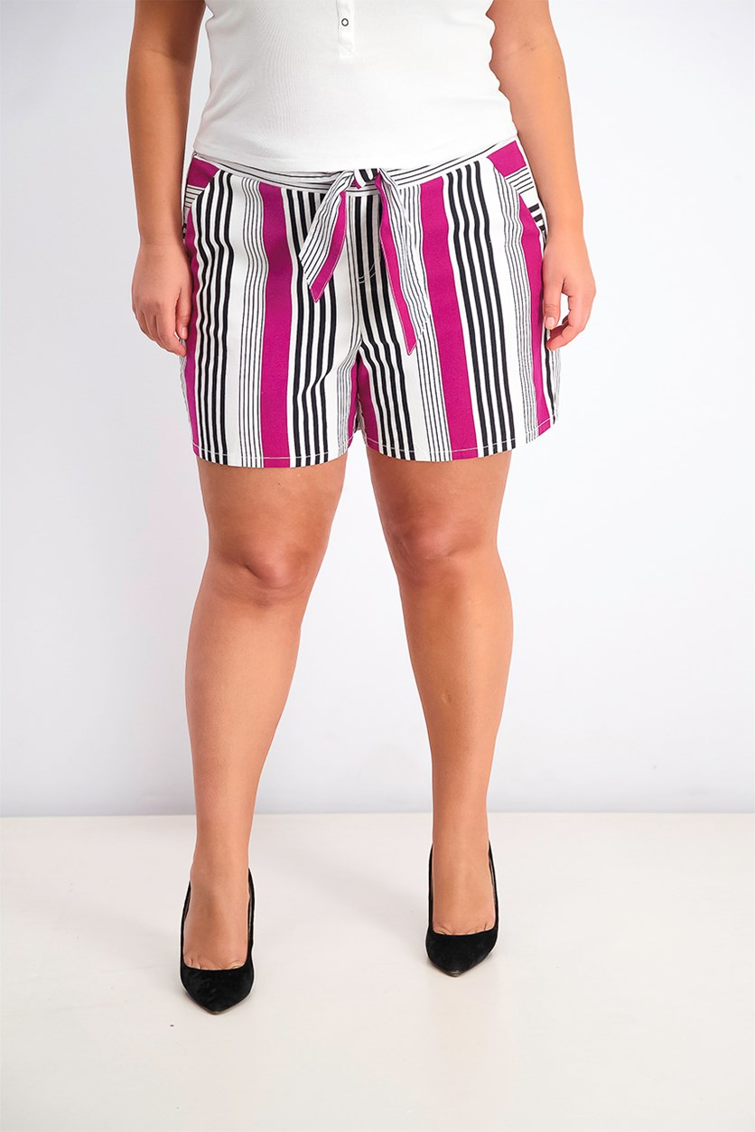 Women's Striped Paper Bag Tie-Front Short, Black/White Combo