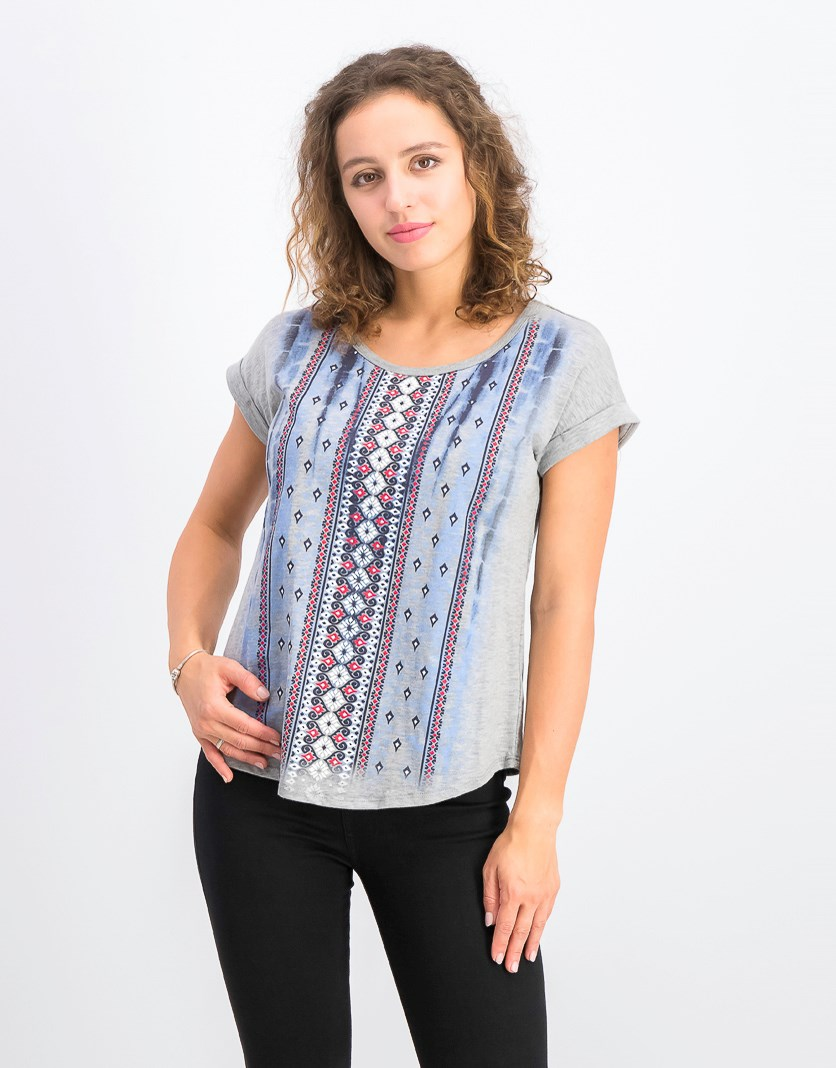 Women's Petite Printed Scoop-Neck Top, Tie Dye