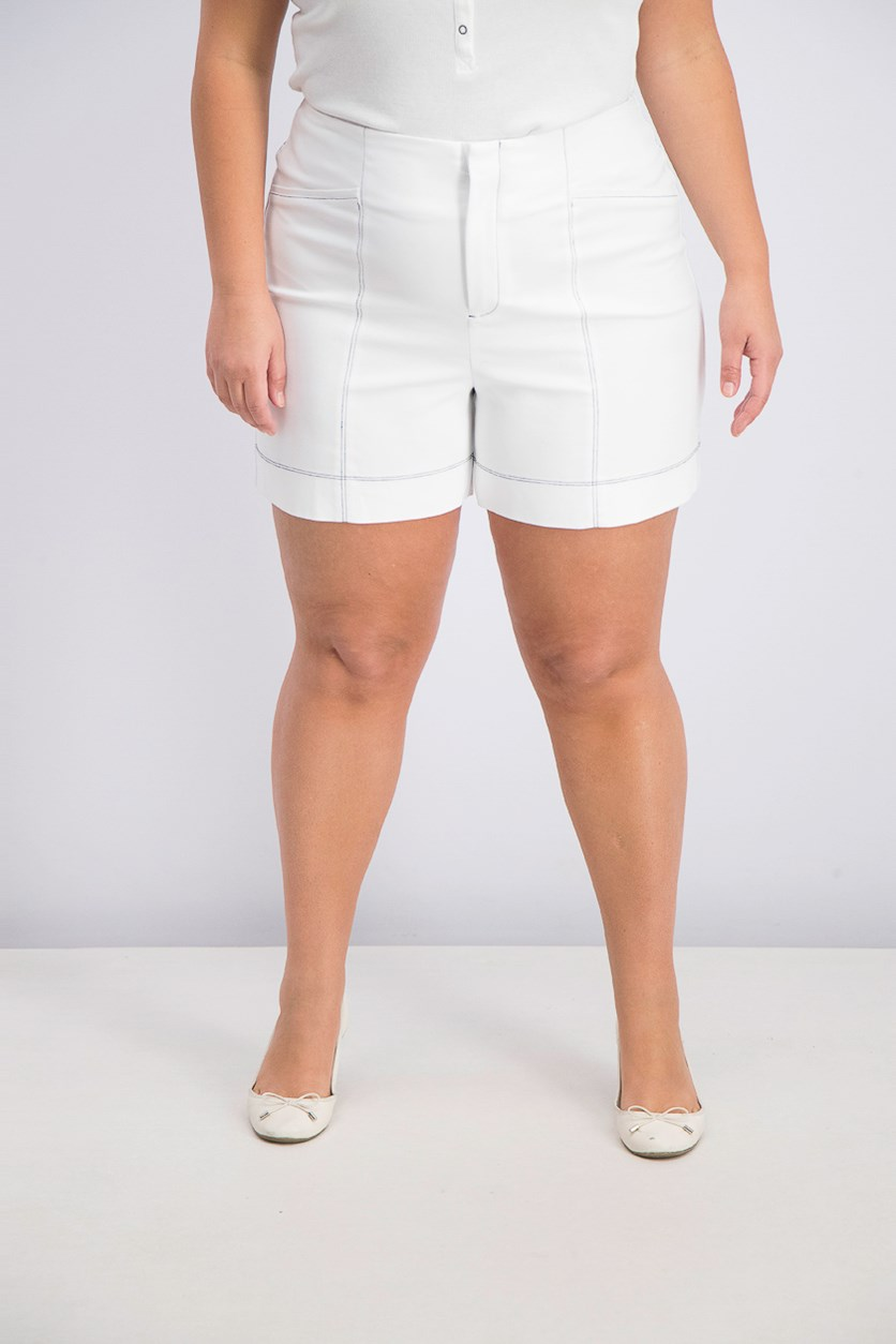 Women's Contrast-Stitch Shorts, Bright White