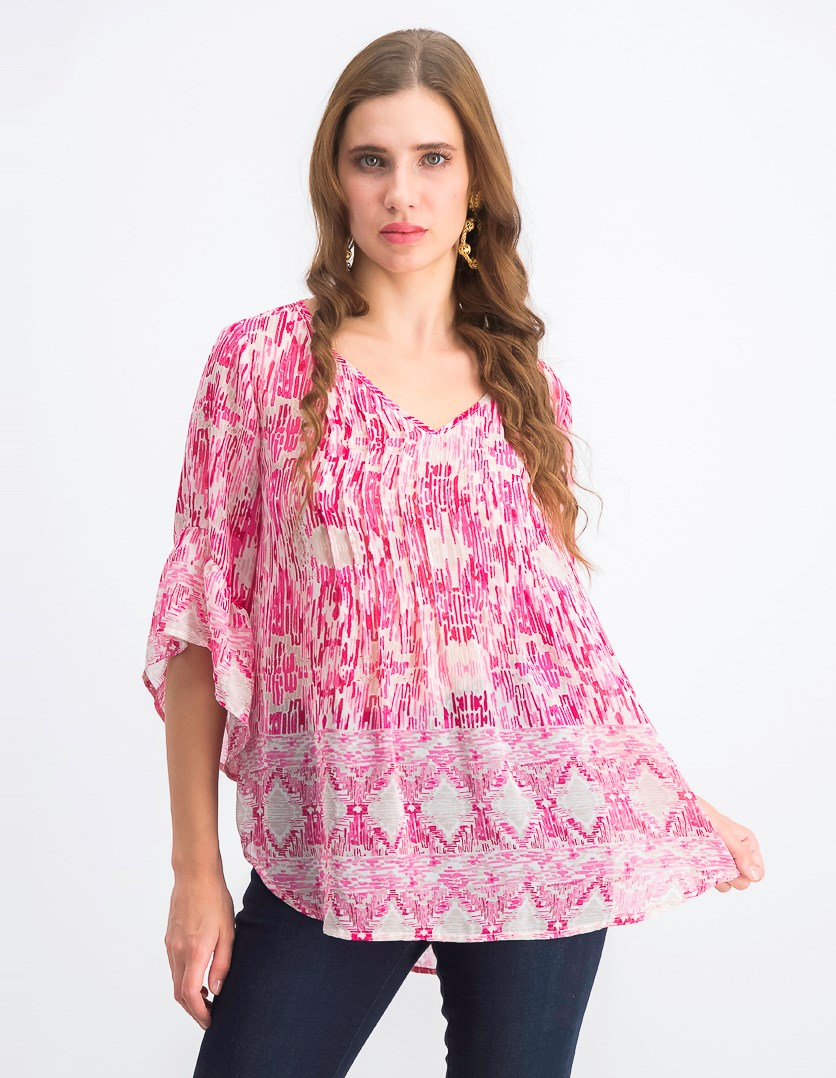 Women's Printed Pintuck Top, Southwest Pink