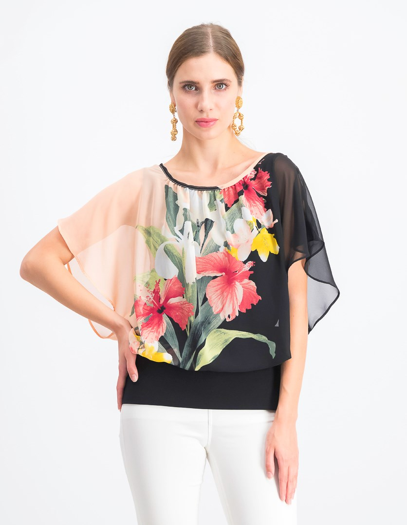 Women's Printed Flutter-Sleeve Top, Black/Pink Combo