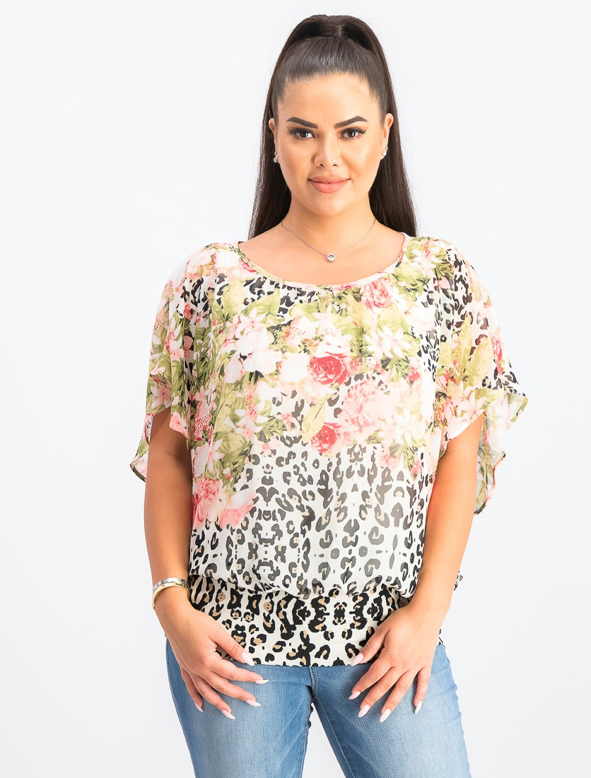 Women's Printed Flutter-Sleeve Top, White Combo