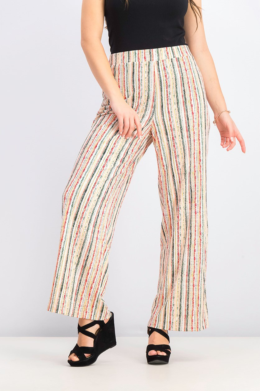 Womens Striped Pull-On Pants, Pacific Stripe