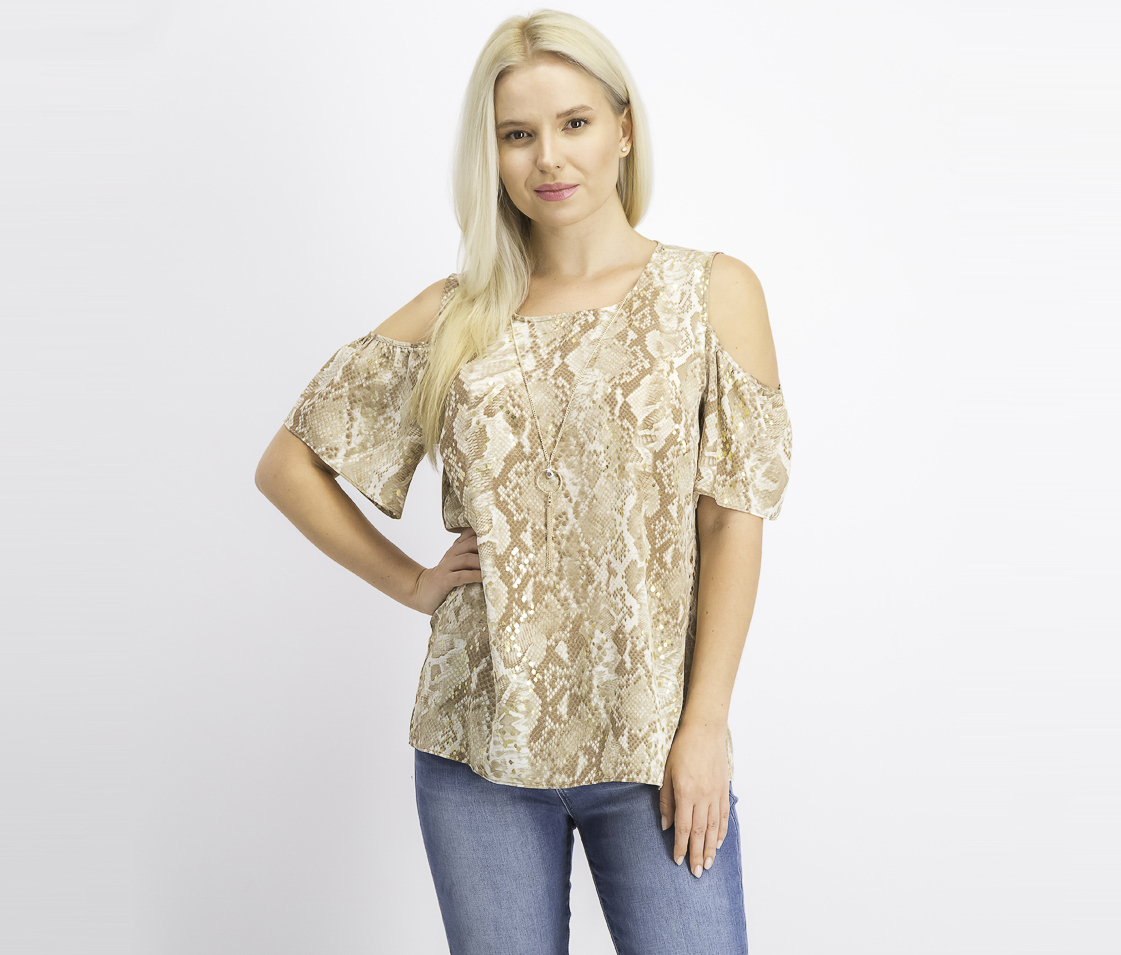 Women's Printed Necklace Top, Viper/Brown Combo