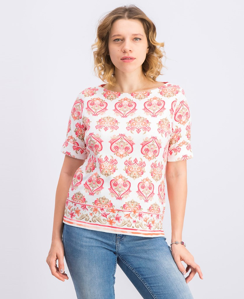Petite Printed Boat-Neck Top, Peony Coral