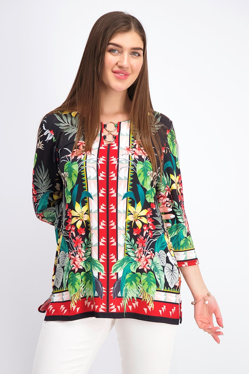 Women's Printed Ring Tunic, Rainforest Combo