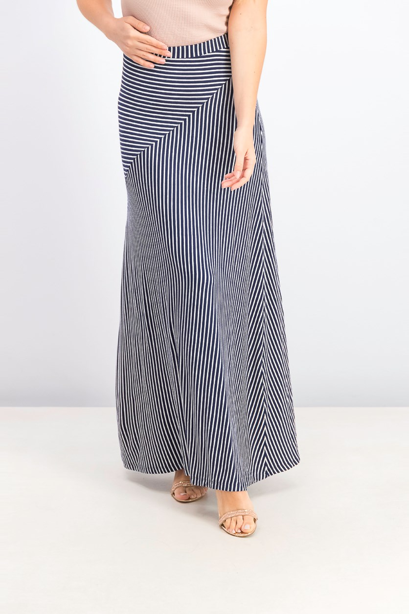 Women's Striped Pull-on Maxi Skirt, Spliced Stripe