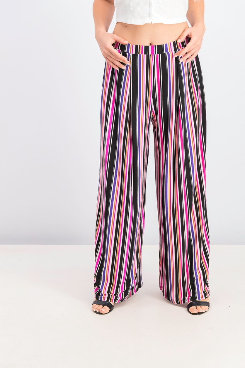Womens Printed Wide-Leg Pants, Mini Stripe